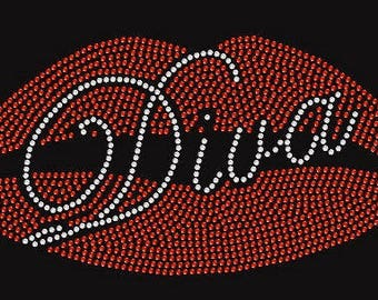 Big Lips Diva  Rhinestone Iron On Transfer               0W30