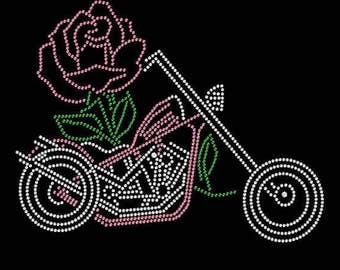 Rhinestone Biker and Rose with Pink Lightweight T-Shirt or DIY Iron On T Shirt Transfer                                     HY8N