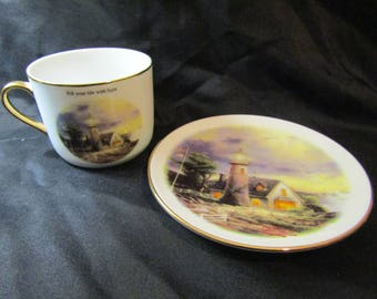 """Thomas Kinkdale """"A Light In The Storm"""" Cup & Saucer Set w/ Gold rimming - Lighthouse"""