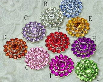 """0.8"""" 10colors Bling Metal Rhinestone Button For Craft Flatback Crystal Decorative Buttons For Girls Hair Accessories"""
