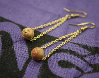 Soapstone and Gold Chain Earrings