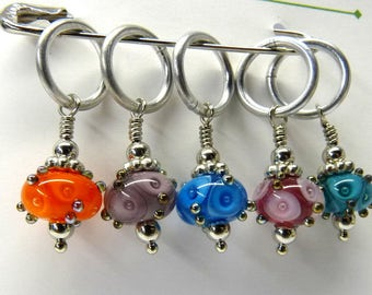 Kiki Beads Lampwork - The Eyes Have It - Knitting Stitch Markers - Fits up to size 15 needle