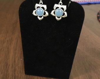 Blue chalcedony flower shaped 925 silver earrings