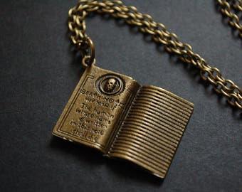 Bronze tone death note book necklace