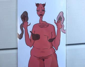 gore art print - creepy art - horror art - strange print - weird print - original art - creepy face drawing -
