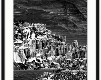 Cliff Face - Black and White Landscape Photography Turned Optical Art - Home Decor