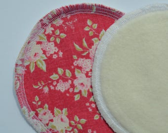 Set of 10 Reusable Breast Pads, Reusable Nurisng Pad, Pink with Flower Print, Vintage flower print