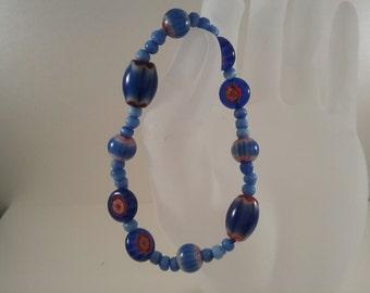 Elastic Millefiori glass bead bracelet