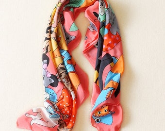 100% Silk crepe de Chine Handmade Quality Square Scarf 84CM Elegant Cat Kerchief