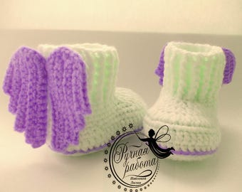 Вooties for an angel , angel wings, crochet baby shoes , baby girl, baby boy, shoes with wings, baby shower, gift, PDF, Unisex baby booties