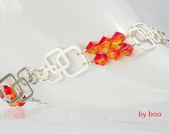 Silver bracelet, silver Swarovski bracelet, Swarovski crystal bracelet
