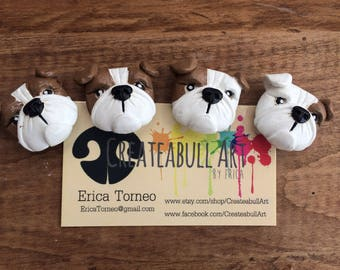 Bulldog magnet set, English bulldog magnets, refrigerator magnet, dog lover gift, pet magnets