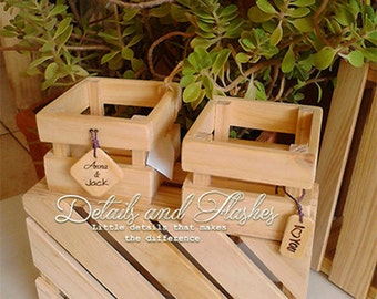 Rustic wedding centerpieces - 6 wooden crates wooden boxes for centerpiece initial letters tag centrepieces