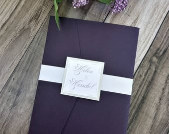 Elegant purple and gray pocketfold wedding invitation