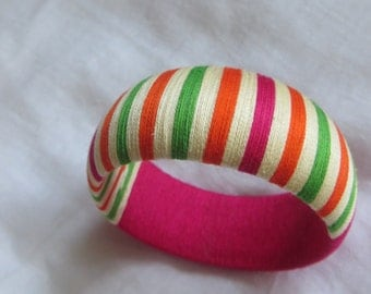 "thread wrapped chunky bangle ""Phoolon ki Rani"" (Flower Queen)"