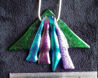 Unique glittery fused and dichroic glass pendant.