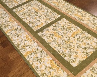 Green Gold and Ivory Quilted Table Runner, Green Table Runner, Green and Gold Table Runner, Quilted Table Runner, Table Runner Quilt
