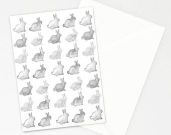 Bunny Silhouettes Stationary Card, Greeting Card, Children's Card, Bunnies, Gray and White