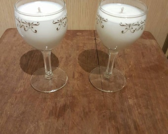 Set of two little glass candles