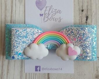Rainbow glitter bow, rainbow bow, rainbow headband, glitter bow, rainbow hair bow, rainbow birthday, rainbow hair clip, sparkle hair bows