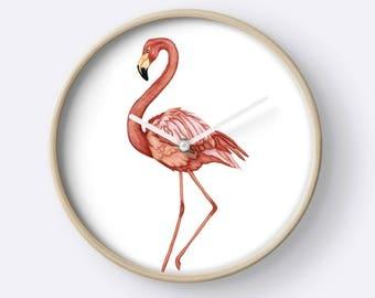 Digital painting Flamingo art, wall clock, pink and white, digital painting, wall art, illustrated clock art bird motif