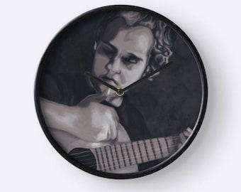 Clock wall decor black and white - portrait painting musician man with guitar - quartz