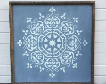 Blue and white distressed mandala | Farmhouse | framed wood sign | rustic | yoga | meditate | yogi | boho decor | good vibes only