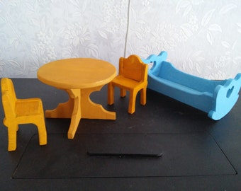 Furniture for dolls, bed, table, chairs