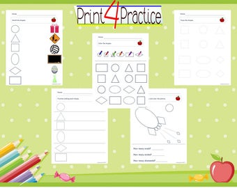 Shape practice, match the shapes, color the shapes, trace the shapes, and count the shapes, kindergarten worksheet, teaching supplies