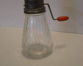 Antique Cheese Shredder with Glass Bottle and Metal Grater with handle
