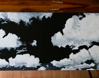 GREY SKY - black and white acrylic painting