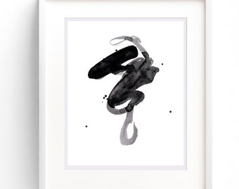 Wall Print, Wall Art Printable, Watercolor, Downloadable Art, Black & White Print, Printable Art, Minimalist Wall Art, Printable Abstract