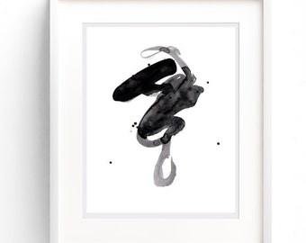 Wall Print, Wall Art Printable, Watercolor, Downloadable Art, Black & White Print, Printable Art, Minimalist Wall Art, Printable Abstract