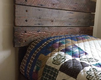 Twin rustic pedestal bed with drawers, rustic twin bed, child bed, barnwood bedroom furniture, faux barnwood
