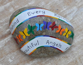 Hand Painted Stone,Inspirational Stone,Personal Gift,Rainbow Baby Painted Stone,Rainbow Baby Gift,Keepsake,Collectible,Souvenir, Bookend