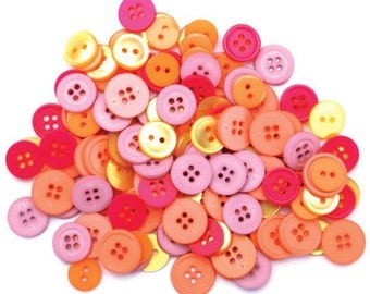 Buttons, Assorted Craft Buttons, Clothing Buttons, Sewing/Craft/Diy Buttons, Quilting Buttons, Pink/Yellow Buttons, Shank Buttons