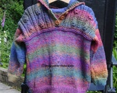 Unique Hand Knitted Girls Hooded Top Multicoloured Girls Hoodie Girls Hooded Top Handmade Girls Hoodie Bright  Colourful Hooded Top