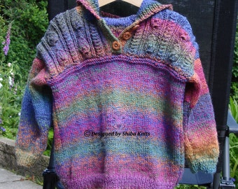 Unique Hand Knitted Girls Hooded Top, Multicoloured Girls Hoodie, Girls Hooded Top, Handmade Girls Hoodie, Bright & Colourful Hooded Top