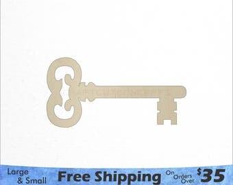 Skeleton Key Shape - Large & Small - Pick Size - Laser Cut Unfinished Wood Cutout Shapes (SO-0007)