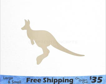 Kangaroo Shape - Australian Wildlife - Large & Small - Pick Size - Laser Cut Unfinished Wood Cutout Shapes (SO-0028)