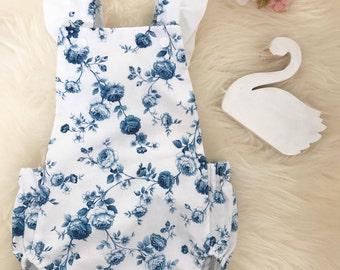 Blue Rose Floral / Baby Girl Romper / Playsuit