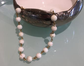 White Turquoise Beaded Layering Necklace