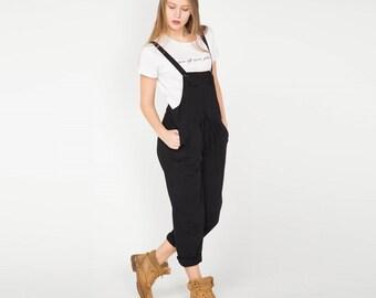 Black Cotton Jumpsuit. Black Overall. Women Jumpsuit. Cotton Pants. Minimalism.