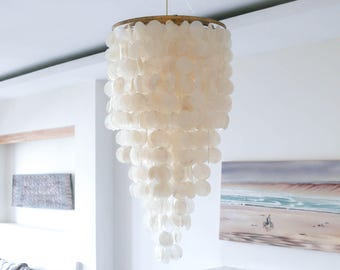 CAPIZ SHELL CHANDELIER, Capiz Shell, Capiz Chandelier, Capiz Shell Lamp, Capiz Shell Light, Capiz Lamp, Capiz Light, Lighting, Home Decor