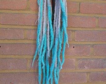 DE wool dreads in grey turquoise
