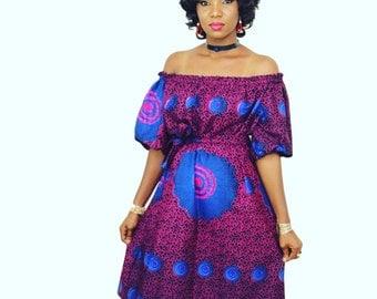 Record African Ankara Print Off Shoulder Dress