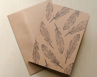 Feathers 5x7 Linocut Greeting Card