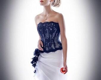 Lace Corset. Strapless Wedding Corset.  Black Wedding Top. Bridal Separates. Black Lace Corset.