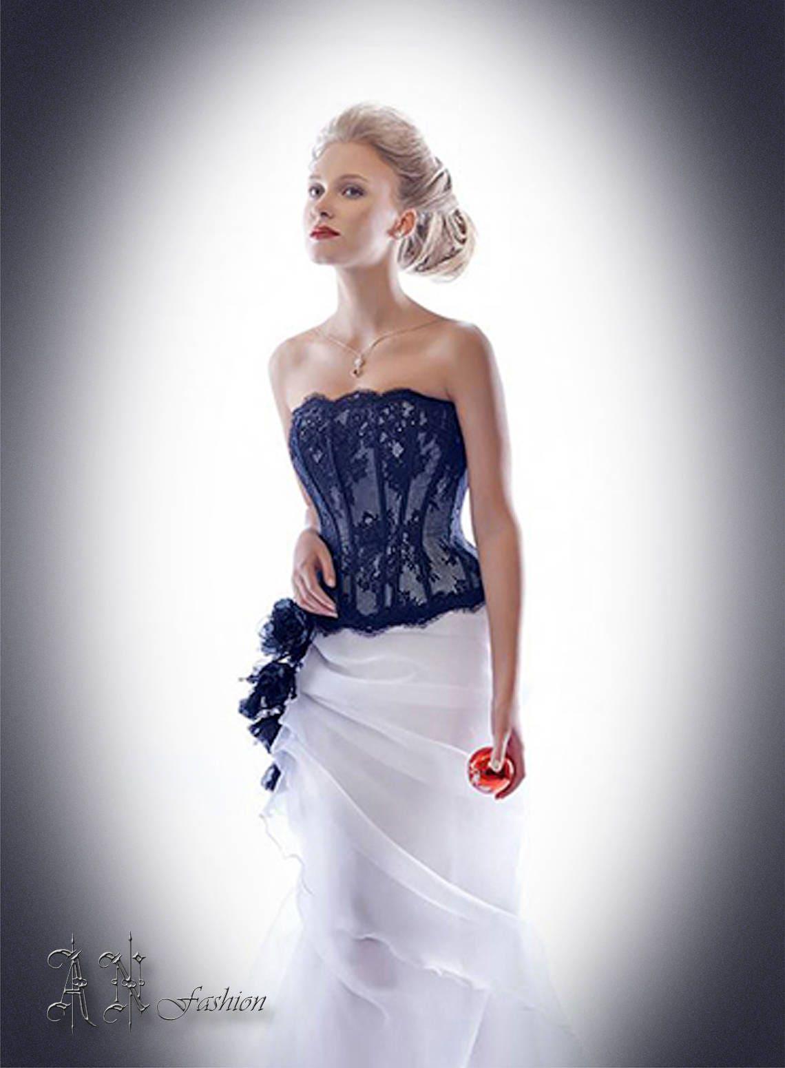 Lace corset strapless wedding corset black wedding top for Lace corset top wedding dress