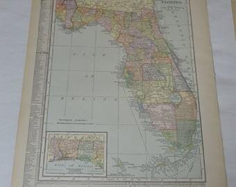 1915 Antique Florida Map